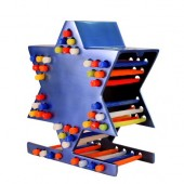 Star of David Candle Storage Menorah-Blue