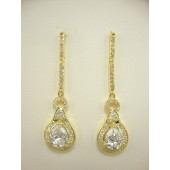 Tear Drop CZ Chandelier Earrings
