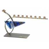 Metal and Glass Curved Menorah