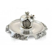 Sterling Silver Pomegranate Honey Dish and Tray