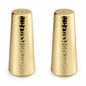 Gold Toned Hammered Salt and Pepper Shakers